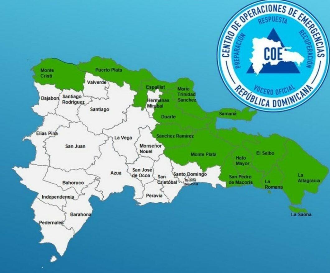 COE. Mapa 13 provincias en alerta verde.