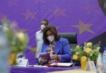 La ex Vicepresidenta y miembro del Comité Político, Margarita Cedeño, participó este domingo de la reunión del alto organismo del PLD