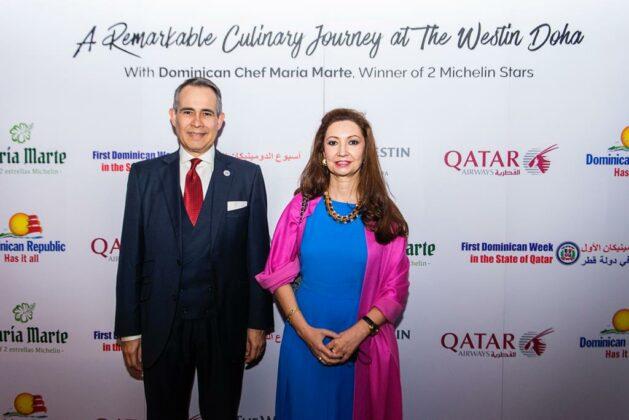 Embajador Federico Cuello junto a la embajadora de España en Qatar, Belén Alfaro.