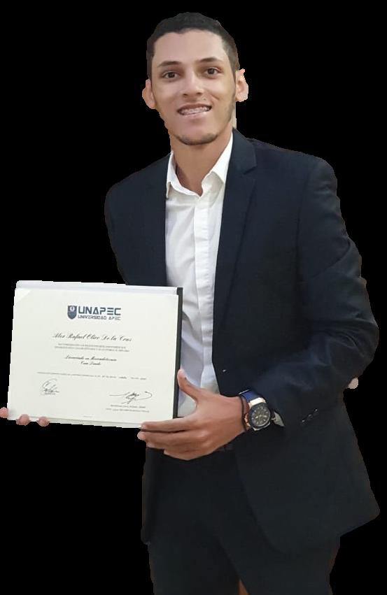Alex Olivo, Cum Laude. Licenciado en Mercadotecnia.
