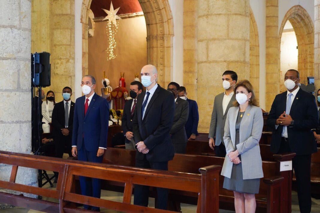 Franklin García Fermín, José Rafael Abinader y la vicepresidenta Raquel Peña.